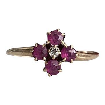 Victorian Ruby & Diamond 14K Rose Gold Ring