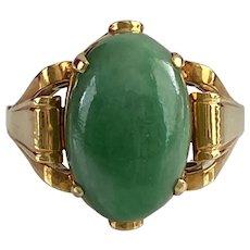 Art Deco 18K Gold & Jade Ring
