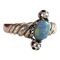 Victorian Black Opal Diamond 14K Ring