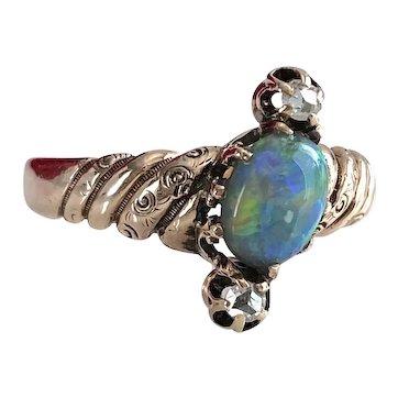 Victorian Black Opal Diamond 14K Ring