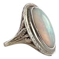 Victorian Opal Bezel Set 14K Yellow & White Gold Ring