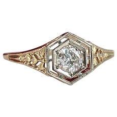 Vintage Diamond Filigree 14K Engagement Ring