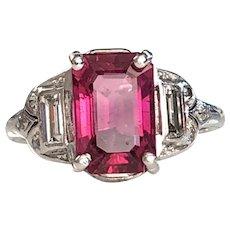 Art Deco Tourmaline & Diamond Platinum Ring