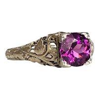 Edwardian Purple Garnet 18K White Gold Filigree Ring