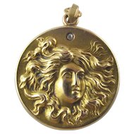 Antique Victorian Lady Locket with Diamond Star in the Sky, 14K