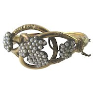 Antique Victorian Natural Pearl Hinged Bangle Bracelet in 14 Karat Yellow Gold