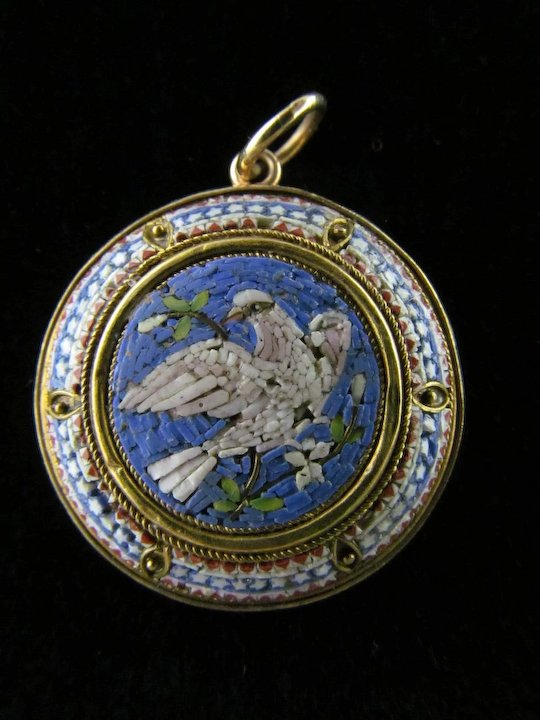 Mid victorian micro mosaic pendant featuring a dove in 14 karat gold mid victorian micro mosaic pendant featuring a dove in 14 karat gold aloadofball Choice Image