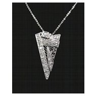 Platinum and European Cut Diamond Art Deco Pendant