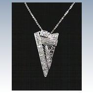 Platinum and European Cut Diamond Art Deco Pendant