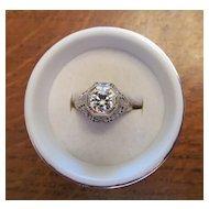 Circa 1920 Brilliant Diamond Ring in 18 Karat Gold with Appraisal