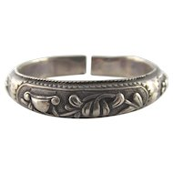 Antique Chinese Silver Bracelet Bangle Flower Butterfly Hand of Buddha Fruit Signed!