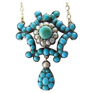 """9KYG Victorian Turquoise and Pearl Necklace on a 15"""" YG Chain"""