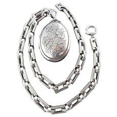 Antique Victorian Locket and Book Chain in Sterling Silver (British Hallmark)