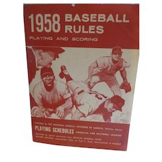 1958 Baseball Rules Pamphlet