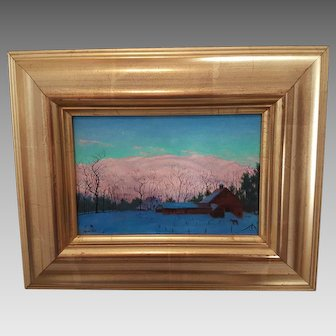 'Winter Twilight' by Peter Granucci Framed Oil Painting on Board