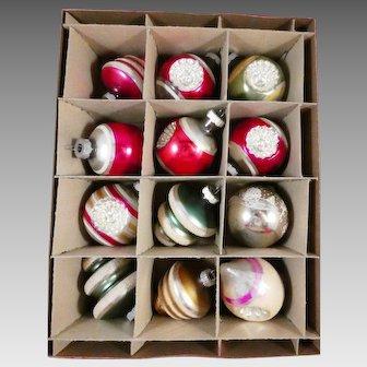 Box of 12 Vintage Shiny Brite Glass Christmas Tree Ornaments
