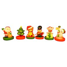Set of 6 Russ Berrie Christmas Stamp Plastic Figures