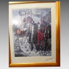 Theo Tabiasse Signed Framed Poster Les Fruits de la Marise