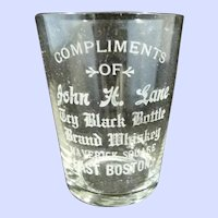 Souvenir Dry Black Bottle Brand Whiskey Glass East Boston Massachusetts