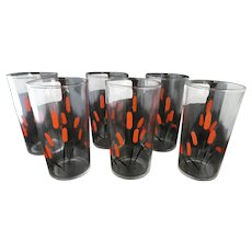 Set of 6 Cattail Drinking Glasses c. 1940s