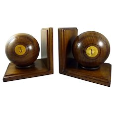 English Wood Lawn Bowling Ball Book Ends