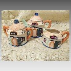 Charming Cottageware Teapot Creamer and Sugar Japan