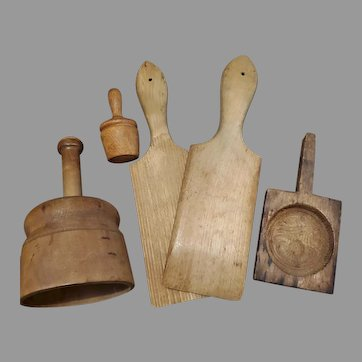 Group of Vintage Wood Butter Molds and Paddles