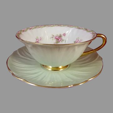 Shelley Oleander Bridal Rose Cup and Saucer 13535