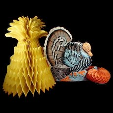 Vintage Thanksgiving Table Centerpiece Turkey Pumpkin Cornstalk