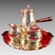 Mid Century Modern Silverplate Coffee Service Set Designed by Carl F. Christiansen Denmark