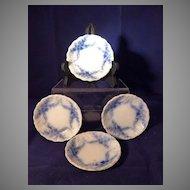 4 Flow Blue Butter Pats Daisy Pattern England c. 1896