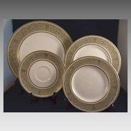"Royal Doulton China ""English Renaissance"" Pattern H4972 Green Gold Scrolls"