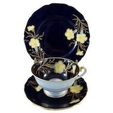 Hutschenreuther German Floral Trio Madeleine Cobalt Yellow and Gold