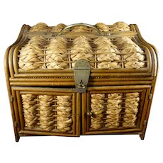 Vintage Wicker Jewelry or Sewing Casket