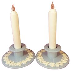 Wedgwood Queen's Ware Candle Holders Cream White on Lavender Blue