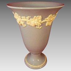 "Wedgwood Queen's Ware 7"" Vase Cream White on Lavender Blue"