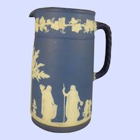 Wedgwood Offering To Peace Jasper Ware Dipped Dark Blue Pitcher 8.5 inches tall