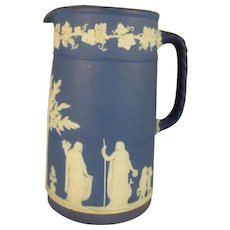 Wedgwood Jasper Ware Dipped Dark Blue Pitcher 8.5 inches tall