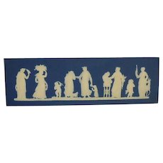 Wedgwood Jasper Ware Plaque Sacrifice Figures Dark Blue