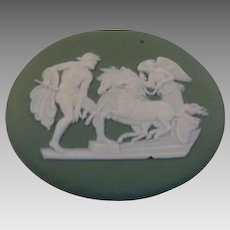 Antique Wedgwood Green Jasperware Oval Medallion Plaque Ulysses With Chariot of Victory