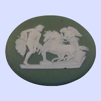 Wedgwood Green Jasper ware Oval Medallion Plaque Ulysses With Chariot of Victory