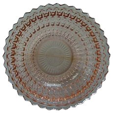 Pink Depression Glass Round Bowl c.1940's Holiday Buttons & Bows by Jeannette Glass