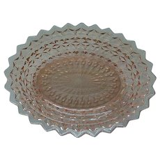 Pink Depression Glass Oval Bowl c.1940's Holiday Buttons & Bows by Jeannette Glass