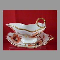 Limoges Poppy Pattern Gravy or Sauce Boat with Under Plate