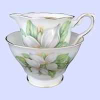 Royal Stafford White Trillium Open Sugar and Creamer English Bone China