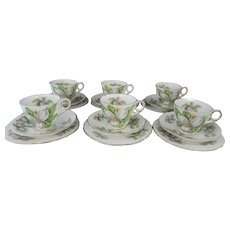 Set of 6 Trios by Royal Stafford White Trillium Cup Saucer Plate English Bone China