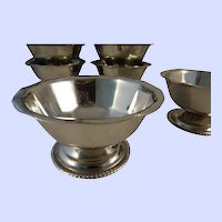 Vintage Lot of 8 Stainless Steel Pedestal Bowls