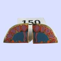 Vintage Laurel Burch 1970's Clip Earrings