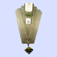 Italian Murano Venetian Glass Square Pendant Necklace and Square Drop Pierced Earrings