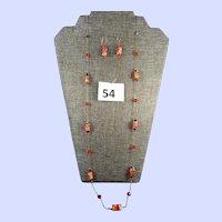 Italian Murano Venetian Glass Long Red Bead Necklace and Earrings